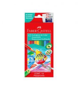 Lápices de Color Faber Castell Acuarelables Kit de 12 Ecolápices + Pincel de regalo