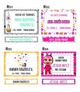 Combo Rotulos + Etiquetas Rainbow con Plantilla